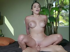 Busty girl plays with the cock like a charm