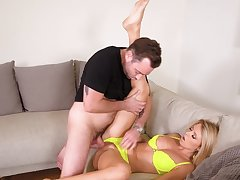 Crazy hard sex on the couch for shy Mary Kalisy