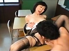 Hairy MILF in stockings shows pussy