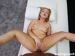 Black lady's man got surprised with a blowjob and sexual relations by blonde girl Cindy