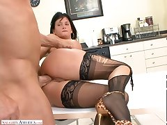 Office slut about ripped stockings Tory Lane hooks beside with three of co-workers