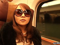 Weirdo and weird looking in sunglasses Japanese nympho Minako Sawada gives freak