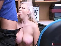 Teen shoplifter gives officer a blowjob