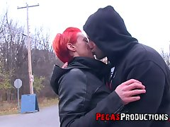 Neon red haired Canadian floozy Tender Mya gets facial after crazy sex with her extremist fellow