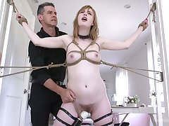 Lewd peachy hoe Dolly Leigh gets a chance with experience breast bondage