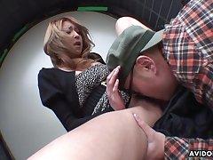 Japanese cocksucker makes him cum in her mouth