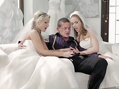 A wedding day turns to threesome nearby Alexis Goblet and one more copulate