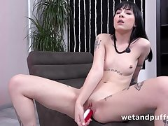 Punk sweeping with sexy little pierced nipples fucks candles