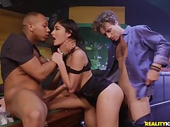 Inviting girl shared off out of one's mind two dudes in a bar