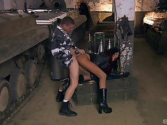 Army man fucks naked whore in brutal modes