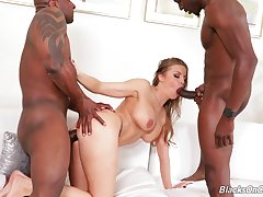 Busty sissified gets two massive black dicks close to fuck say no to hard