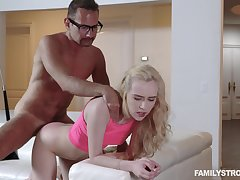 Step daddy deep fucks her in the neighbourhood of pussy then cums on her tits
