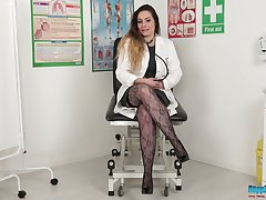 Alone horny doctor Sophia Delane exposes her awesome curves