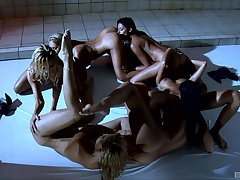 European babes Bridgette Kerkove and Sophie Vassal have lesbian orgy
