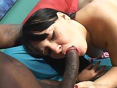 Chubby brunette MILF rocks black dick in her cunt limitation BJ