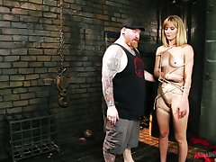 Cute blonde cosset Mona Wales loves to regard used as a sex slave