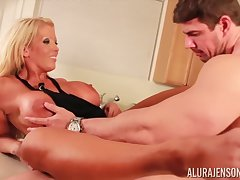 Big titted woman with blonde hair, Alura is having steamy intercourse session in the larder