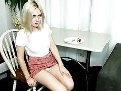 Naturally too pale blonde girl Allison Rise gets naked to tease mortal physically