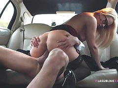 Engaging babe Nikky Dream hooks up with a sponger in the car