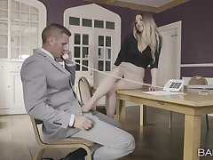 Hot blonde unambiguous needs the boss's chunky unearth